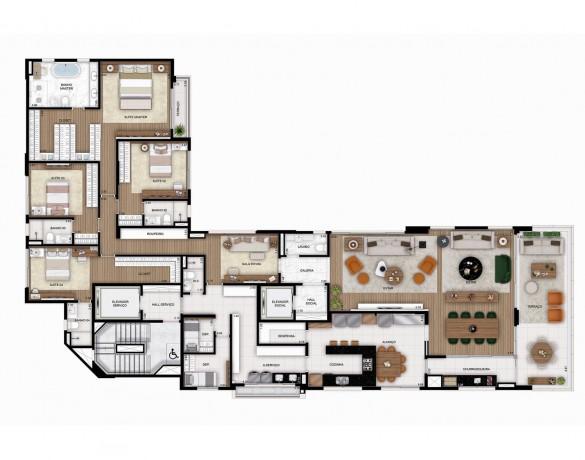 Planta Tipo 1 - 330 m² - 4 Suítes