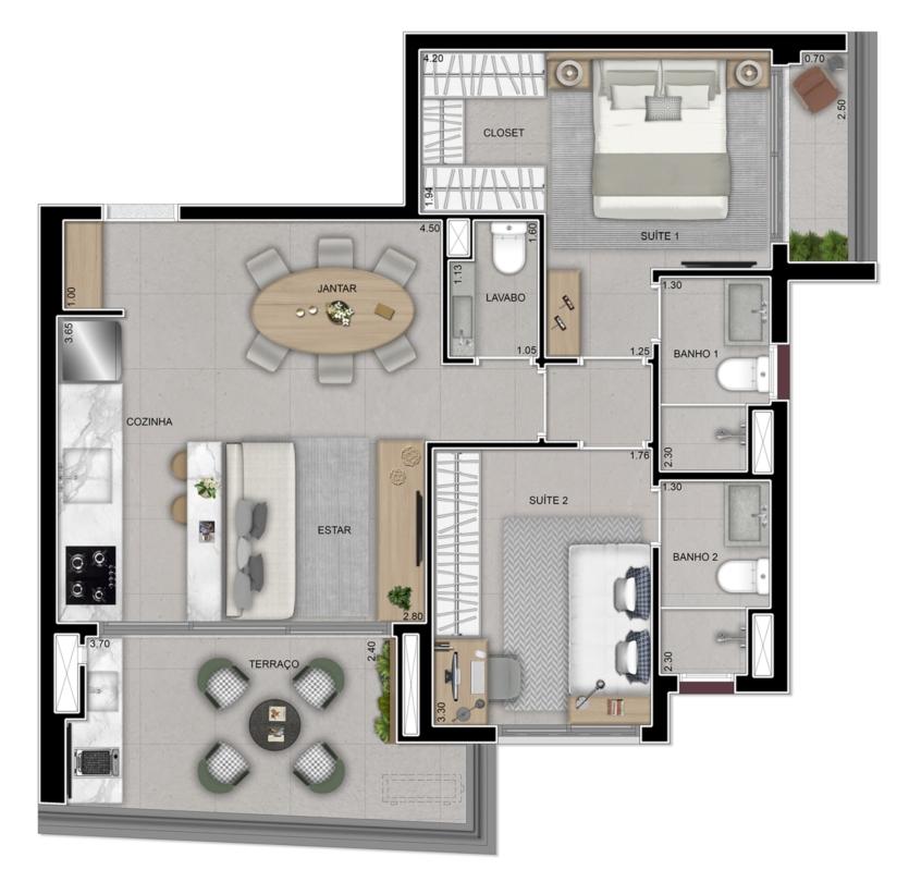 Apartamento 72 m²