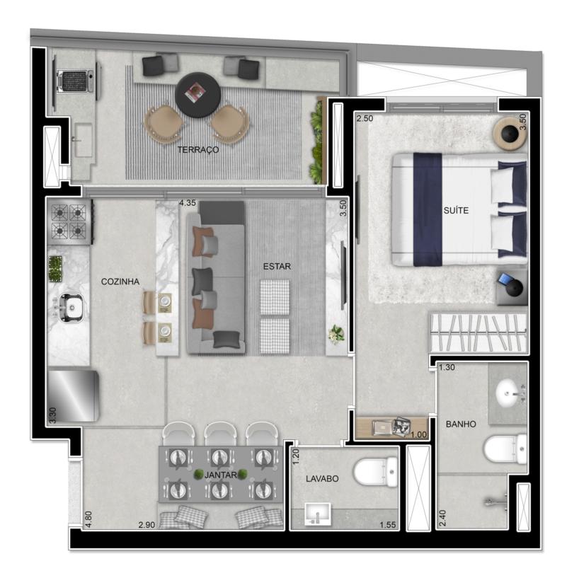 Apartamento 48 m²