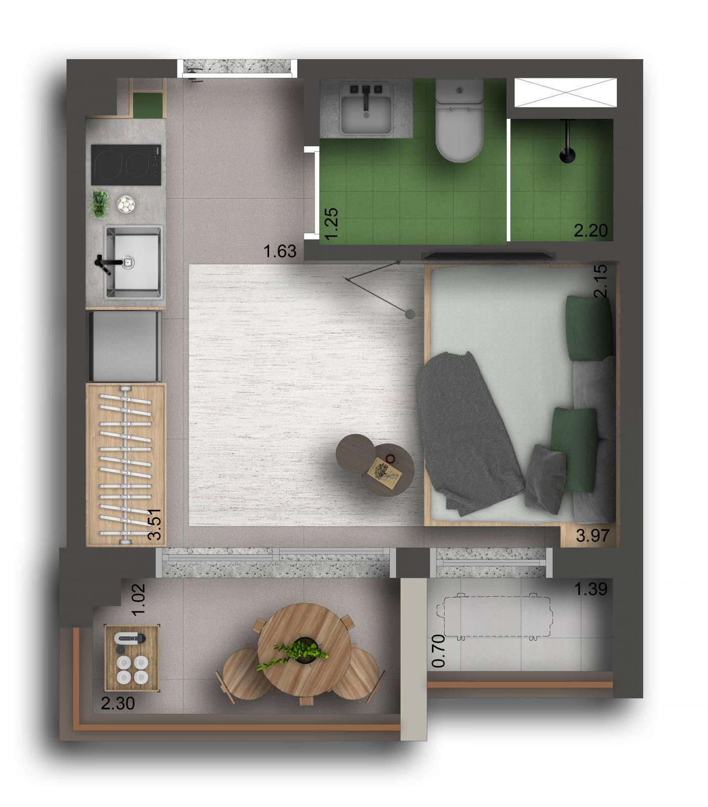Studio - 20 m²