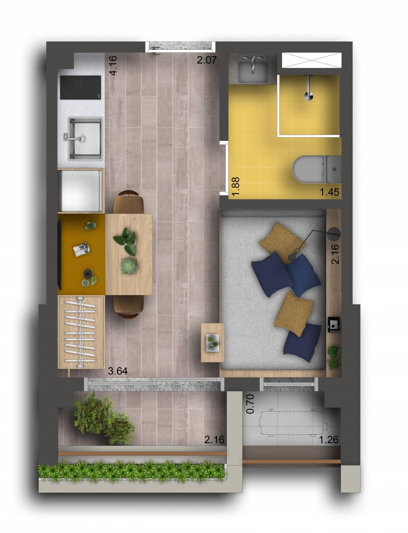 Studio - 21 m²
