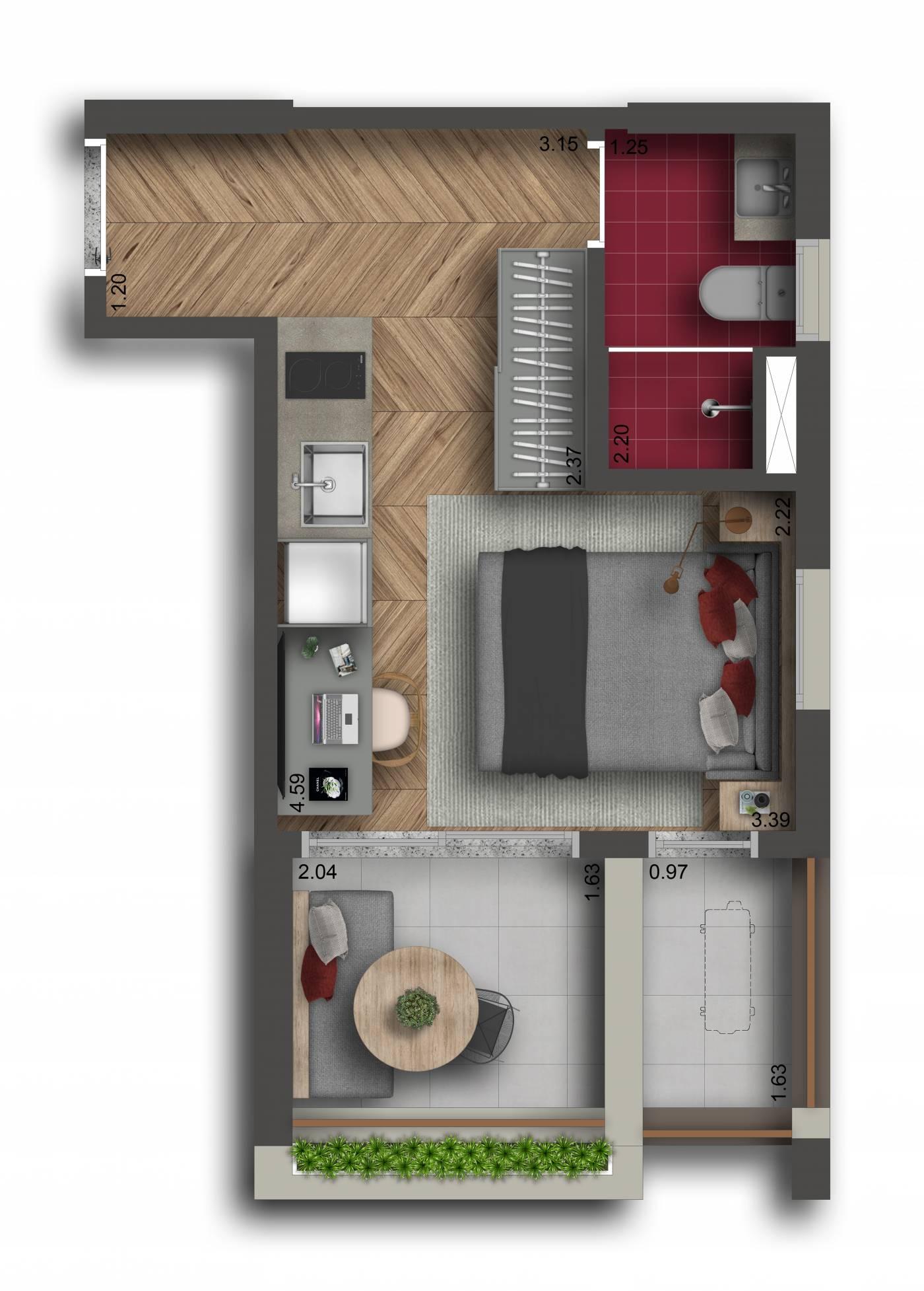 Studio - 27 m²