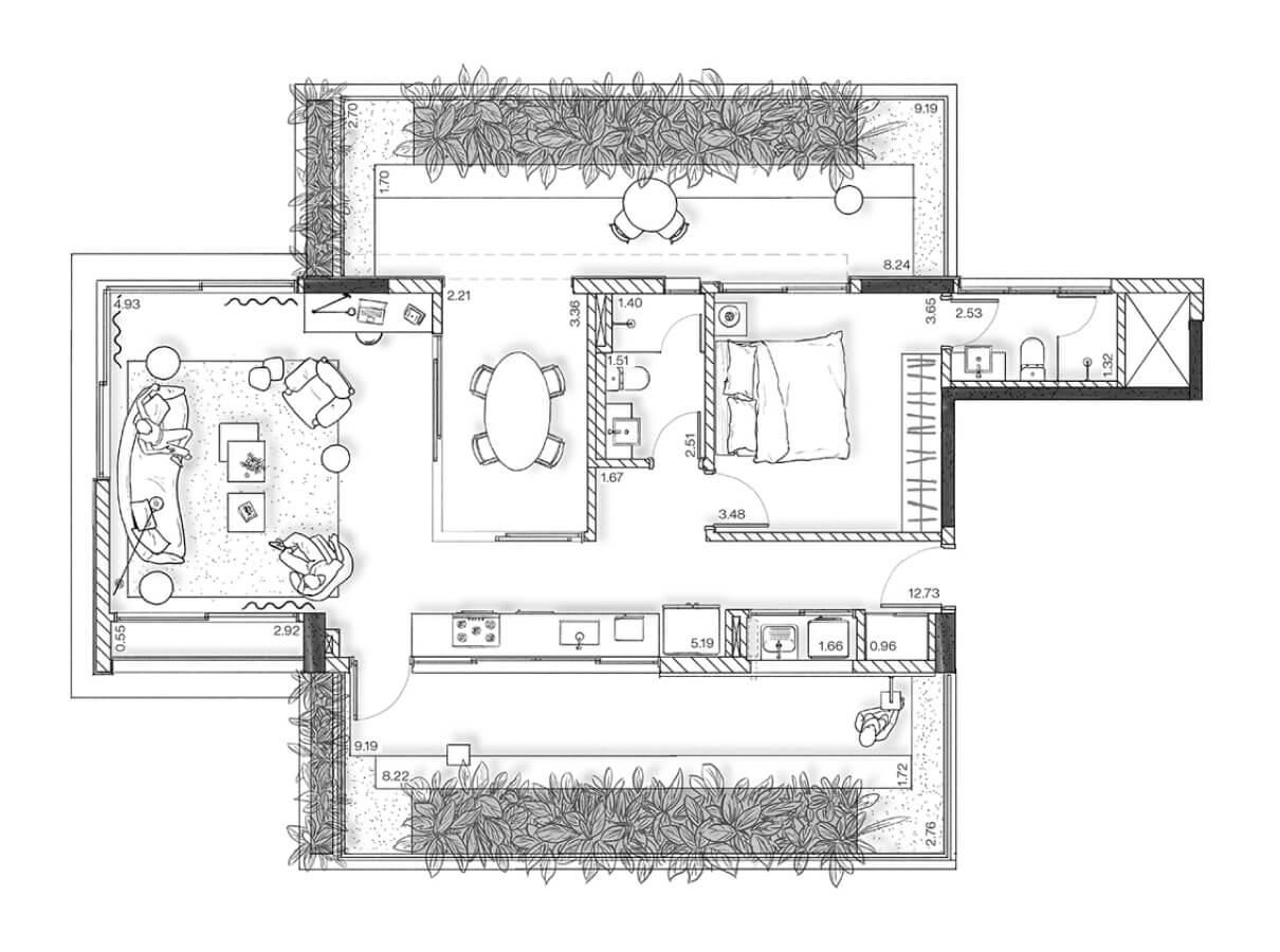 Planta - Apartamento Garden 114 m²