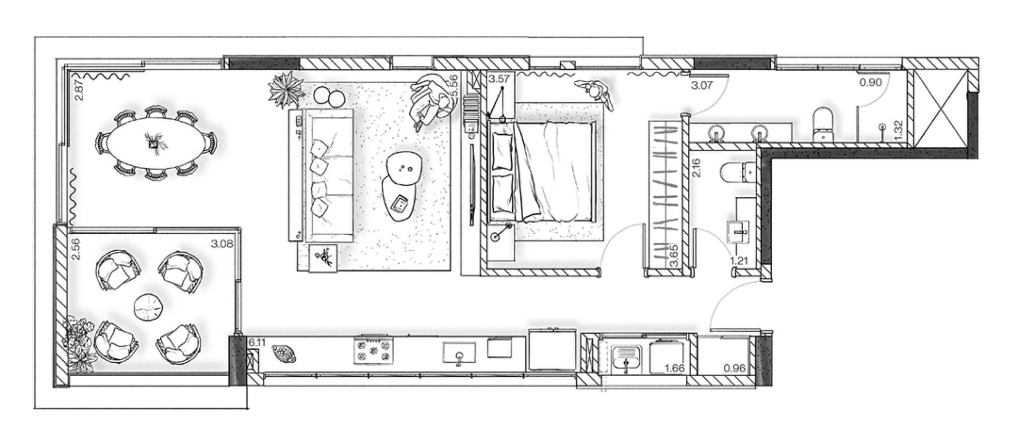 Planta - Apartamento 79 m²