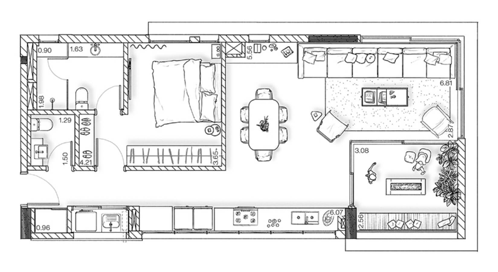 Planta - Apartamento 84 m²
